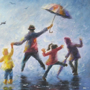 Singing in the Rain art print, happy family playing in rain paintings umbrellas mom dad three children three kids wall decor