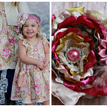 BABY HEADBAND, toddler girl, teen, any size, one size, ott, scb, penny laine, pink, lace headband, ooak, boutique, stacked flower, spring