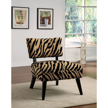 Coaster Furniture 460505 Zebra Print Upholstered Accent Side Chair