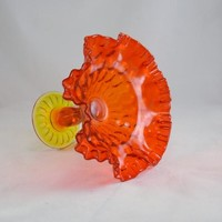 Amberina Compote - Double Crimped - Thumbprint - Candy Dish - 1980s