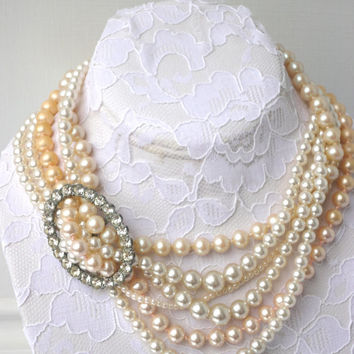 vintage upcycled repurposed faux pearl silver oval rhinestone buckle wedding bridal cream white seed pearl brooch necklace choker clasp OOAK