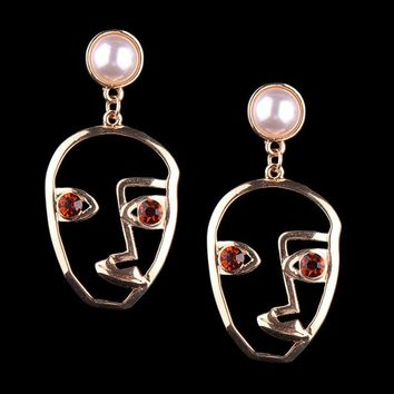 Face Cartoon Ear Studs Trend Fashion Funny Alloy Crystal + Pearl Earrings Wild Models Highlight Fun Personality Ladies Dedicate