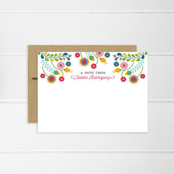 Personalized Notecard | Flat Notecard Set, Everyday Greeting | Personalized Stationery | Fiesta, Colorful, Mexican Notecards | Julieta