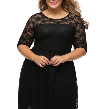 Black Three Quarters Sleeves Lace Wedding Plus Dress