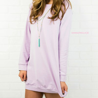 Keep Calm & Carefree Lavendar Raglan Sweatshirt Dress