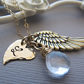 Initial Necklace, Initial Heart Necklace, Personalized Necklace, Custom, Letter Necklace, Heart Necklace, Gold Angel Wing, Birthstone