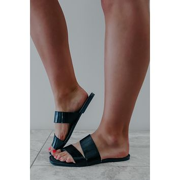 Wait On Me Sandals: Black