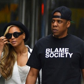 BLAME SOCIETY Jay Z T-Shirt Beyonce Tumblr Graphic tees Mens t-shirt Summer Style  Tops Hip Hop tshirt Black and White