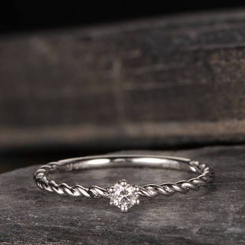 Braided Solitaire Engagement Ring Diamond Delicate Half Eternity Dainty Thin Mini Wedding Band
