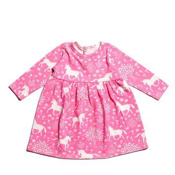 Pink Unicorn Baby Dress by Winter Water Factory
