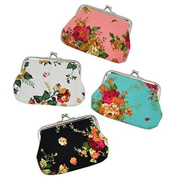 Oyachic 4 Packs Coin Pouch Purse Clasp Closure Assorted Pattern Wallet Exquisite Gift 47quotL X 35quot Hquot