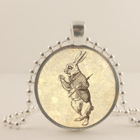 """Alice and Wonderland. The white Rabbit. 1"""" glass and metal Pendant necklace Jewelry."""
