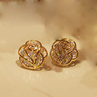 The fashion rhinestone Camellia earrings &stud