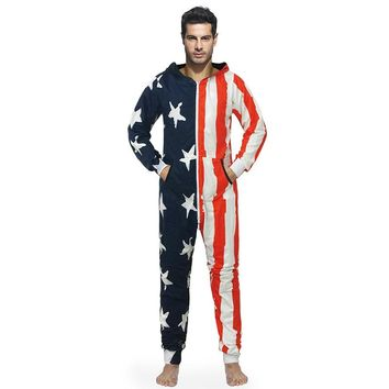 Flag Pajamas Men Onesuits Male Jumpsuits Loose Wear Hooded Zipper Pockets 3d Print Stars And Stripes Large Size