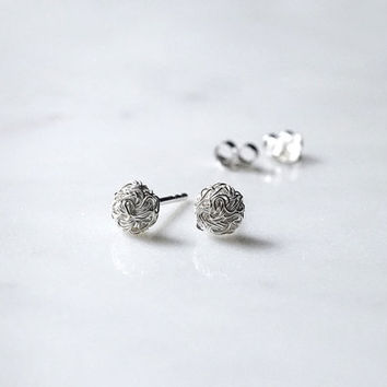 Sterling silver wire ball stud earrings - button style earrings - gift for her - Simple Minimalist Everyday Jewelry LITTIONARY
