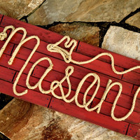 """36"""" Personalized Nursery Decor ~ Western Baby Room ~ Rope Name Sign ~ Toddler Cowgirl Cowboy Theme Room ~ RED Distressed (003) ~ MASON"""