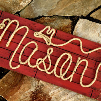 "36"" Personalized Nursery Decor ~ Western Baby Room ~ Rope Name Sign ~ Toddler Cowgirl Cowboy Theme Room ~ RED Distressed (003) ~ MASON"