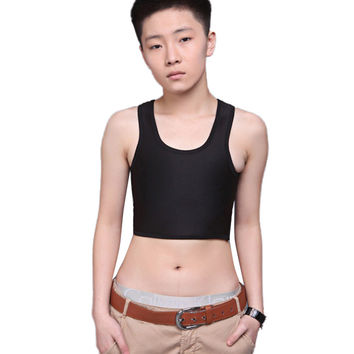 Sexy Breathable Buckle Short Chest Breast Binder Trans Lesbian Tomboy White, Black  Three-breasted