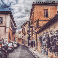Greece photography. City Urban photography, Walking in the Old City Of Athens. Plaka.Perspective. Architecture.Wall Art. Fine Art Giclee.