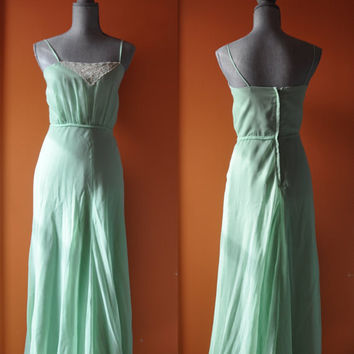 Vintage 1970s dress | mint green 70s dress • Mint Bohemian Dress