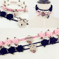 Handmade Flower Safe Heart Choker Locket Spiked Studs Harajuku Collar Necklace