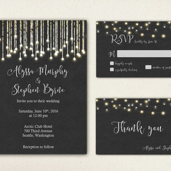 Black Background Wedding Invitation White String Lights Printable Wedding Suite Rustic RSVP Dark Wedding Set Digital Invite - WS003