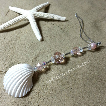 Rear View Mirror Car Accessory.  White Ark Shells with Light Pink Crystal Beads. Sun Catcher Car Charm