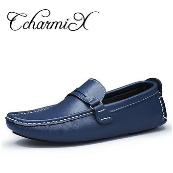 Men Genuine Leather Moccasins Men's Summer Flats Slip On Casual Shoes