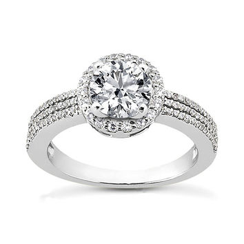 2 carat halo diamonds ring 3 row engagement ring solitaire with accents
