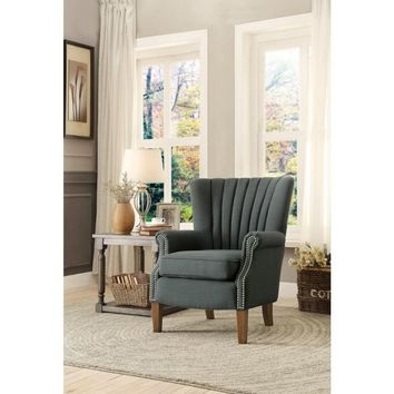 Accent Chair With Nail Head Trim Flared Arms In Gray