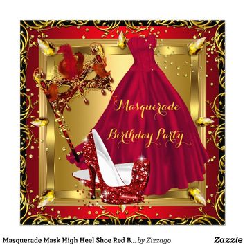 Masquerade Mask High Heel Shoe Red Birthday 4 Personalized Invitations from Zazzle.com