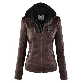 Women Leather Jacket 2017 New Plus Size S-XXL Women Motor Jackets Solid Slim PU Leather Motorcycle Jackets Coats