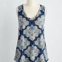 Rustic Mid-length Sleeveless Infinite Options Top in Blue Paisley