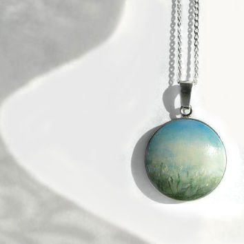 Hand painted Necklace, Sterling Silver Jewelry Silver Charm Bezel Original Painting Necklace Landscape Flower Field White Flowers, Artdora