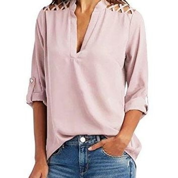 BLENCOT Womens Casual 34 Cuffed Sleeve V Neck Cut Out Shoulder Chiffon Blouse Shirt Casual Loose Tops