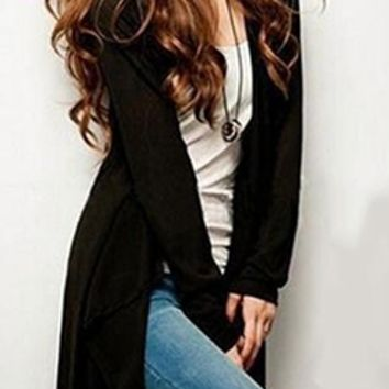 The Long Haul Black Long Sleeve Cardigan Knit Sweater Jacket