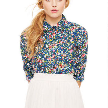 Floral Button Down Shirt - Navy