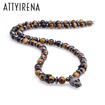 Natural Tigereye Stone Skull Necklaces&Pendants For Men's Beaded Hematite Necklace Men Necklace Punk Hip Hop Personality Jewelry