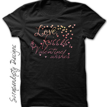Toddler Valentine Shirt - Love Kisses and Valentine Wishes / Baby Valentines Outfit / Girl Valentine Shirt / Girls Valentines Day Outfit Tee