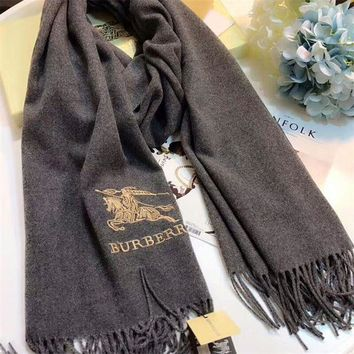 CREYUX5 Luxury Burberry Keep Warm Scarf Embroidery Scarves Winter Wool Shawl Feel Silky And Delicate - Black