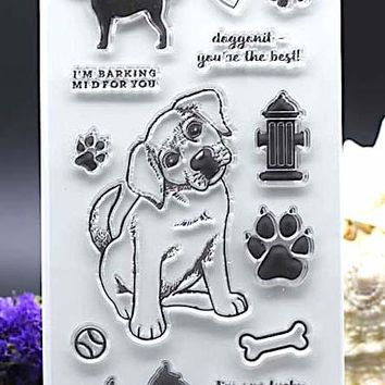 CLEAR STAMPS DIY Scrapbook Card album paper craft  silicon rubber roller transparent stamp dog 11x20cm