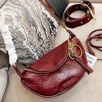 Free Shipping-Charles & Keith Personality Women's Pleated Waist Bag Ring Shoulder Bag