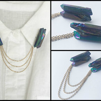 titanium quartz collar pins, crystal lapel pins, collar chain, collar brooch, lapel pin, quartz pin, quartz brooch, crystal brooch