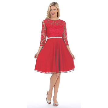 Red Quarter Sleeves Lace Knee-Length Wedding Guest Dress