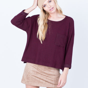 Cozy Ribbed Pocket Top