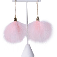 Fuzzy Pom Pom Earrings - Pink