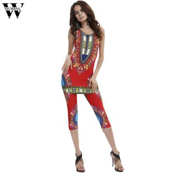 Lady's sets WOMAIL delicate women summer sexy Fashion Vintage African Tribal Print Elastic Sheath Tank Top Pants 2 Piece Set W30