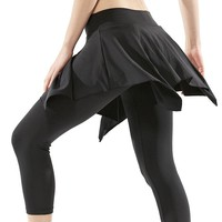 Elastic Faux Skorts/Skirt Tight Skorts