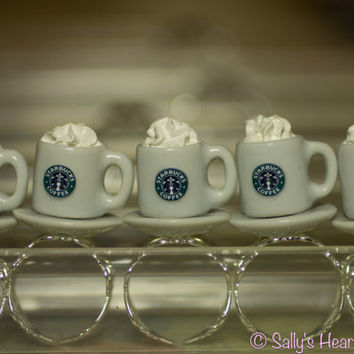Starbucks Coffee Mug with Fresh Whipped Cream Miniature Adjustable Ring 1/12 Scale