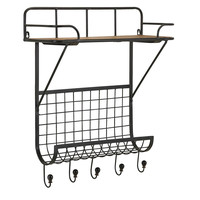 Vaughn Wall Shelf with Hooks